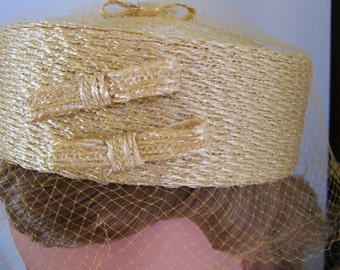 Vintage 50's Pillbox Yellow Gold Straw  Hat with Netting Custom styled for Genung's
