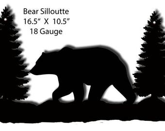 """Bear With Christmas Trees Laser Cut Out Silhouette Metal Sign 10.5""""x16.5"""" 18g Steel RG9252B"""