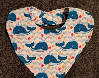 Nautical whale handmade drooly baby bib