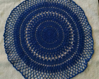 Crocheted Handmade Doily Dark Blue About 16 Inches Made of 100 Per Cent Cotton Thread