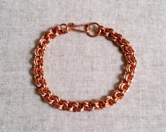Copper 2 by 2 link Bracelet, Copper Chainmaille Bracelet, Copper Handmade Bracelet, Copper Bracelet for Women, and Men