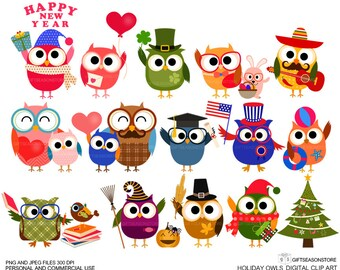 Holiday owls Digital clip art for Personal and Commercial use - INSTANT DOWNLOAD