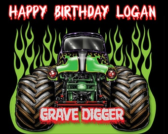 Digger cake topper etsy monster truck grave digger 14 edible frosting icing sheet cake topper customized personalized birthday filmwisefo Gallery