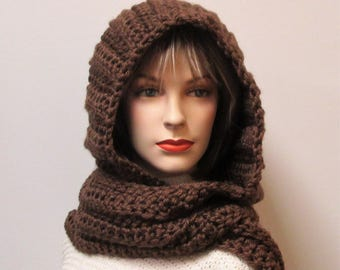 Chocolate Brown Hooded Scarf, Long Scarf with Hood, Crochet Hat,Hooded Scarves,Long Fall Scarf,Chunky Scarves,Large Scarves,Elizabeth B6-062