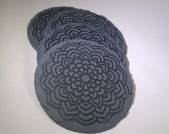 Mandala Etched Slate Coasters
