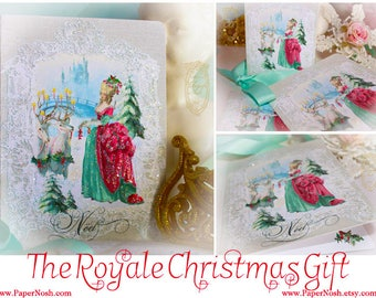 Marie Antoinette The Royale Christmas Gift  5 x 7 Folding Card Set of Six and Shimmering Snow White Envelopes