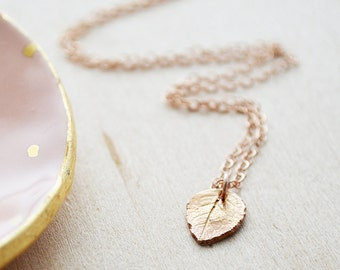 Rose Gold Leaf Necklace - Nature Jewelry - Rose Gold Filled Winter Necklace - Charm Jewelry