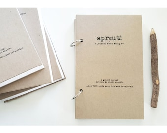 ON SALE-SPROUT-The Unique Guided Journal That's All About You-50 Unique Prompts-Beginners Journal Prompts Notebook by Journal Junky