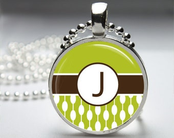 Lime Green Modern Mod Initial Monogram Round Pendant Necklace with Silver Ball or Snake Chain Necklace or Key Ring