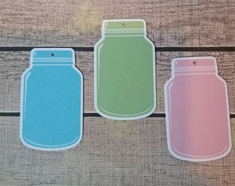 Set of 6 large labels mason jar pastel colors