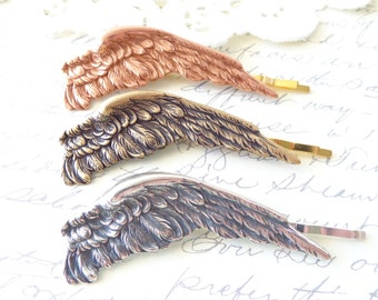 Sterling Silver Plated Feather Hair Pin Set - Angel Wing Bobby Pin - Silver Feather Bobby Pins - Silver Feather Pin - Ox Silver Feather Pin