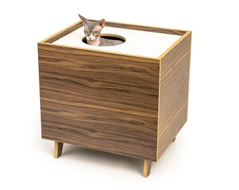 "Mid Century Modern Cat Litter Box Furniture | LARGE Cat Litter Box Cover | Top Entry Litter Training System | ""MOD BOX"""