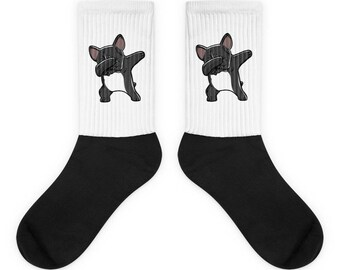 Funny Dabbing French Bulldog Socks, Cute French Bulldog Gift, Frenchie Dog Dab Dance Print