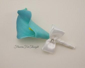 Tiffany Blue Calla Lily Boutonniere, Lapel Bloom, Mens Groomsmen wedding flower