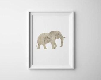 Elephant Poster | Wood Print | Safari Nursery Decor | Safari Elephant Art | Wall Art
