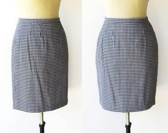 Vintage Black and White Skirt / Plaid Mini Skirt / Size XS S