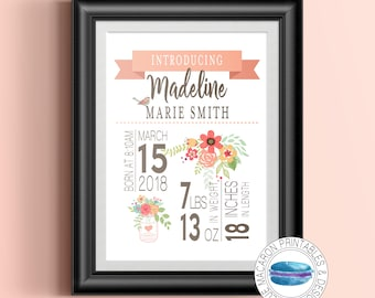 Birth Stats Printable Wall Art/Personalized Baby Name/Baby Birth Details Print/Floral Baby Name Sign/Christening Gifts for Baby Girls