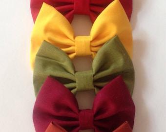 Fall Solid Color Bow | Fabric Bow | Handmade Hair Bow | Hair Clip | Headband