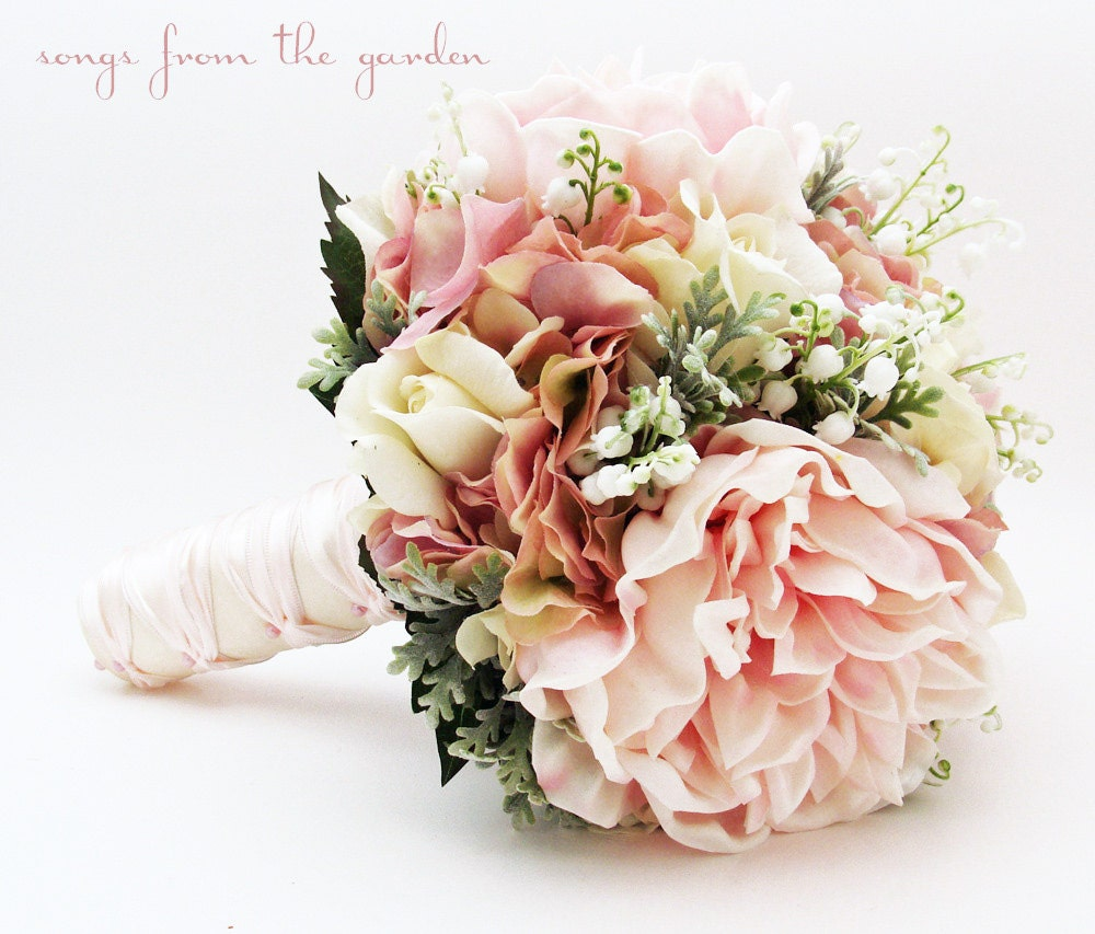 Bridal Bouquet Lily of the Valley Peonies Roses Hydrangea Pink