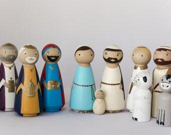 Wooden Peg Dolls NATIVITY