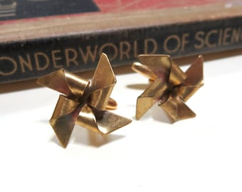 Raw Brass Pinwheel Cufflinks - Whirligigs - Playful - Fun - Circus - Summer - Wedding - Soldered