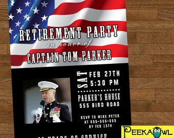 Personalized Military Retirement Invitation card - Digital Retirement Invites - Military Retirement for U.S. Army, Navy, Air Force, Marine!