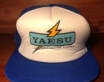 Vintage Yaesu blue and white snapback trucker hat