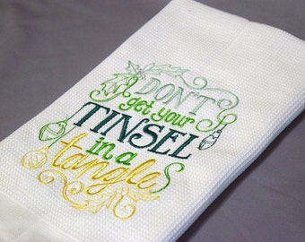 Embroidered Kitchen Towel- Christmas Dish Towel- Holiday Kitchen Towel- Kitchen Decor- Holiday Dish Towel- Funny Towel- Christmas Decor
