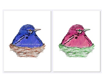 Birds in Nests, Pink and Blue Birds, Watercolor Art Prints, Set of 2, Modern Bird Art, Kids Room Art, Contemporary Nursery Art, Gift for Her