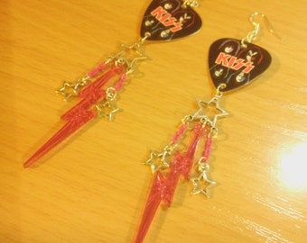KISS solo album earrings with lightning bolts