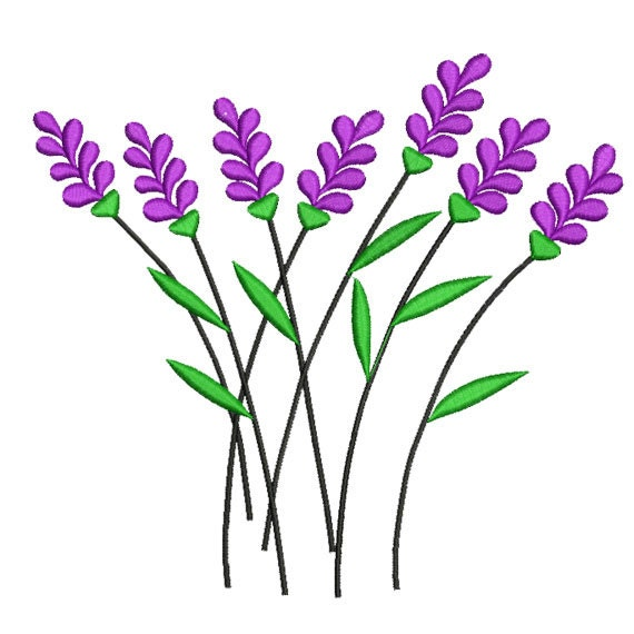 Lavender Embroidery Design Flower Embroidery Flower Machine