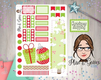 Christmas Planner Stickers,  Traditional Christmas Planner Stickers, Happy Planner Stickers, Erin Condren, Bullet Journal, W-068
