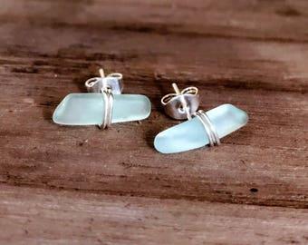 Sterling Silver Sea glass Stud Earrings / Sea foam, white, green, grown, ember  rough Seaglass nugget wire wrapped sea glass stud earring