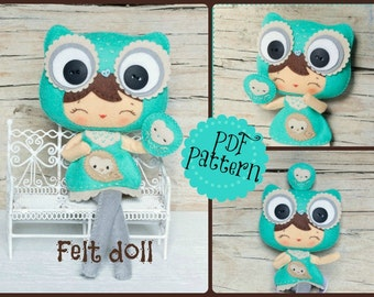 PDF. Owl girl with puppet. Plush Doll Pattern, Softie Pattern, Soft felt Toy Pattern.