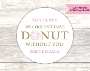 Donut stickers - Donut favor stickers - Doughnut stickers - Favor stickers - Wedding thank you stickers (RW034)