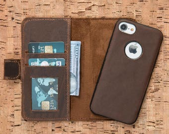 iPhone 8 Plus Case, iPhone 8 Wallet, iPhone 8 Leather Case, Leather iPhone 8 Case, iPhone 8 Plus Wallet, iPhone X Case, Gift - BROWN