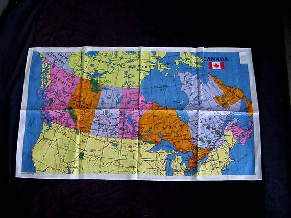 Canada kitchen tea towel vintage printed kitsch linen polish canada kitchen tea towel vintage printed kitsch linen polish fabric canadian map of territories paper label 36 by 22 mint unused colorful gumiabroncs Choice Image