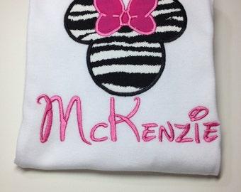 Disney Zebra Minnie - Personalized - Youth- Disney animal kingdom shirt, Disney Family shirts
