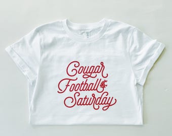 COUGAR FOOTBALL SATURDAY - Women's/Unisex Rolled Sleeve White T-Shirt