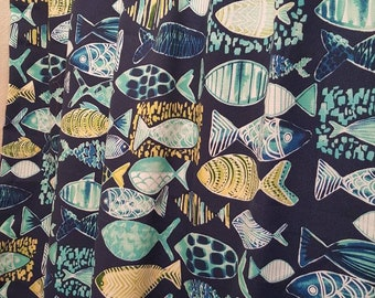 Shower Curtain Fishes Print Indoor Outdoor Hooked Lagoon fabric with Grommets Available in many Sizes