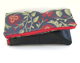 Fold Over Clutch- Genuine Leather- Zipper Clutch, gift for her,- day- evening