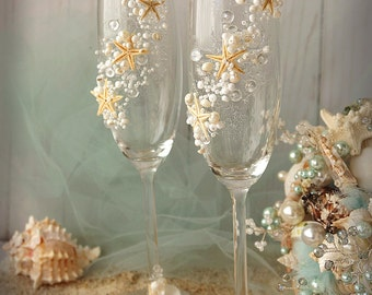Beach Wedding Champagne Flutes Wedding Champagne Glasses Wedding Toasting Flutes Set of 2