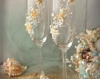 Beach Wedding Champagne Flutes Wedding Champagne Glasses Wedding Toasting Flutes Set of 2