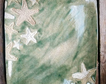 Handmade square starfish serving platter or decorative tray.  Pottery dishware. Green marble glazed plate.