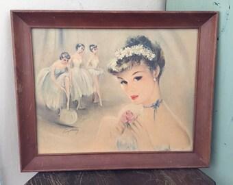 Vintage Ballerina Picture; Cydney Grossman Ballerina Print; Ballerina Decor; Vintage Wall Decor; Ballerinas; Ballet