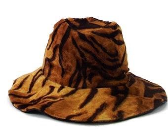 VTG Cool Funky Lush Animal Print Marshall Field & Company Betmar New York Paris Adjustable Wide Brim Hat