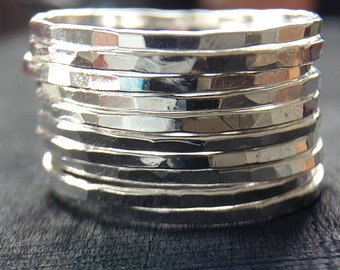 10 Sterling Silver Stackers, Sterling Silver Rings, Stacking Rings, Skinny Rings, Bohemian Ring, Bohemian Jewelry