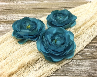 3 TURQUOISE Teal Ranunculus - 3.5 Inches - Artificial Flowers, Silk Flowers, Wedding, Flower Crown, Hair Accessories, Millinery, Tutu, Hat