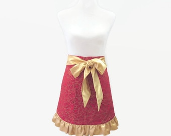 Plus Size Half Christmas Apron, Plus Ruffled Half Apron, Plus New Year's Red Poinsettia & Gold Hostess Apron, Gift for Mom, Wife, Friend