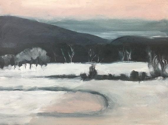 "Original Oil Painting: Lavender Winter, 12"" x 16"""